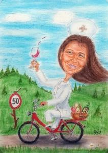 Krankenschwester auf Fahrrad mit Weinglas - Geschenk zum Fünfziger in Form einer Farbkarikatur