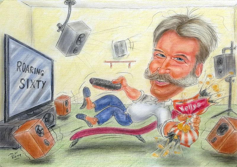 Farbkarikatur eines TV-Fans mit Surroundanlage