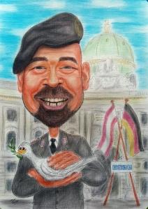 Karikatur eines Friedensbewahrers mit Taube in Farbe