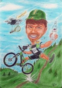 Mountainbiker-Karikatur in Farbe