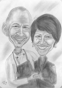 Karikatur eines glücklichen Paares - Bleistiftzeichnung