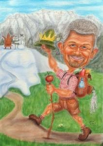 Karikatur eines Lederhosenhosenträgers beim Bergwandern