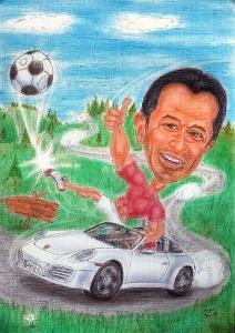 Hobbysportler im Porsche kickt Fussball - Karikaturen nach Fotos von m.v. Zeichenstift Wien