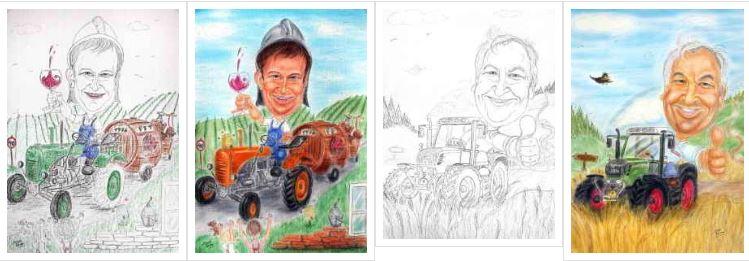 Traktorfahren, Bagger oder LKW - für eine Karikatur ist das Thema ein Treffer