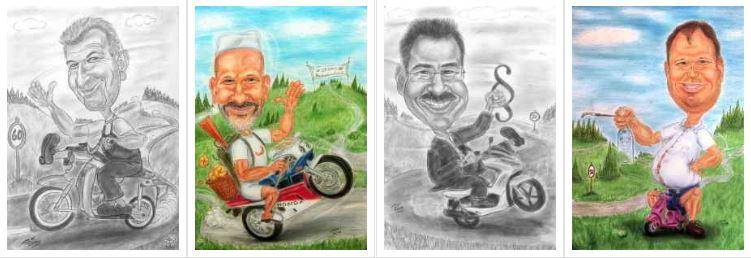 Motorradfahrer, Biker, Motor-Cyclisten und andere
