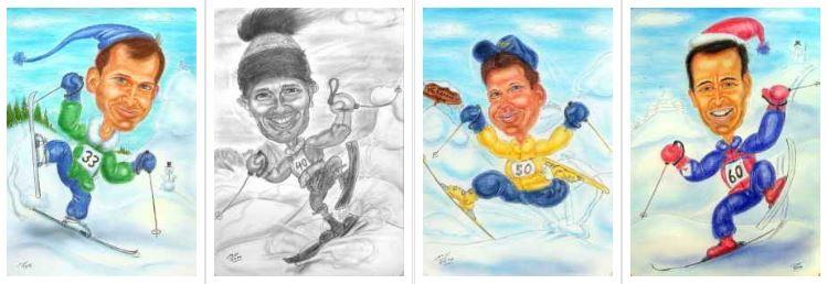 Wintersportler in verschneiter Landschaft