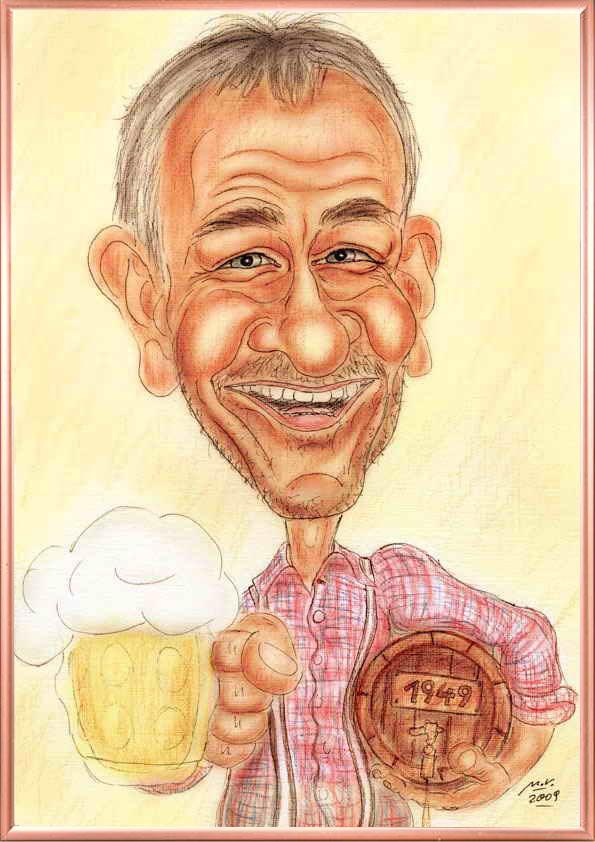 Bild-Beispiel mit Rahmen - Karikatur als Geschenk zum Sechziger für einen Bier-Geniesser