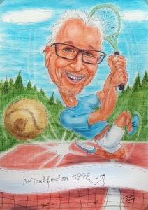 Karikatur eines sportlichen Pensionisten beim Tennis-Spiel