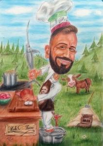 Karikatur eines Kochs bei der Arbeit im Freien