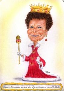 Ein Geschenk für eine liebenswerte ältere Dame in Form einer Farbkarikatur