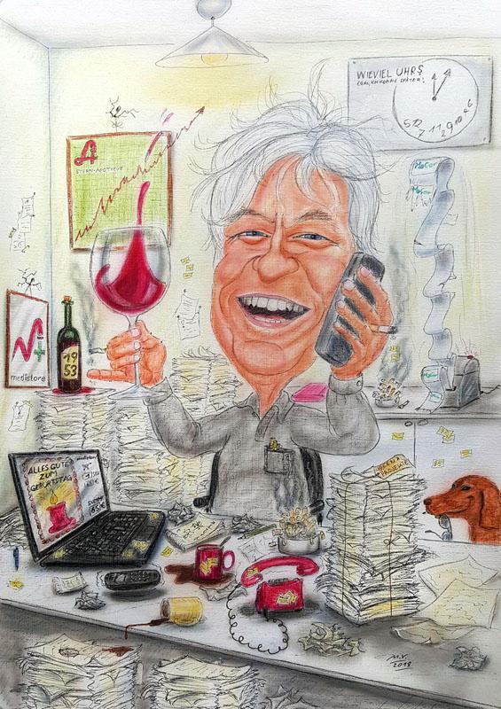 Karikatur in Farbe - Mann im Büro mit vielen Akten und einem Glas Wein beim Telefonieren