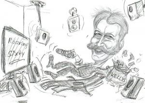 Karikatur-Entwurf-Chillen-Surround-TV-Couchpotato