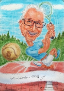 Karikatur eines rüstigen Pensionisten beim Tennis-Sport