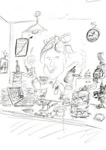 Erste Skizze Karikatur Home Office