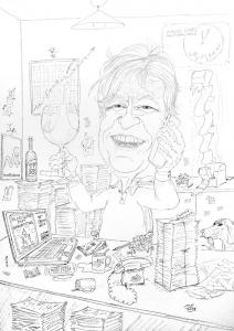 Vorzeichnung der Konturen mit Faserstift Karikatur Home Office