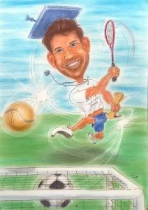 Farb-Karikatur - Doktor spielt nach bestandener Prüfung Tennis und Fussball gleichzeitig