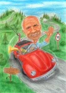 Auto - Karikatur eines Cabriofahrers in Farbe