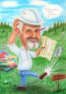 Baumeister - Karikatur zum Fünfziger - Farbbild