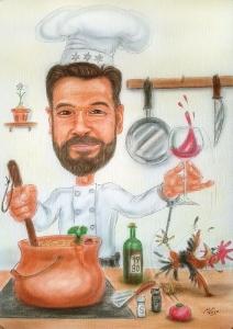 Heute Koch - früher Polizist, Farb-Karikatur