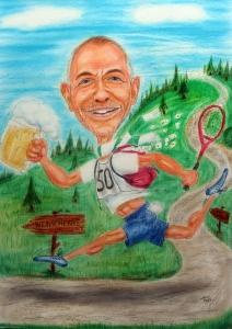 Farbkarikatur eines Hobbyläufers mit Bierkrug und Tennisschläger