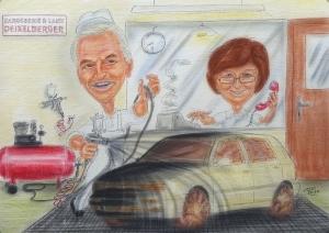 Autolackierer bei der Arbeit, Karikatur für ein Unternehmer-Ehepaar zur Pensionierung