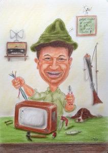 Farbkarikatur eines Bastlers bei der Reparatur eines TV-Geräts