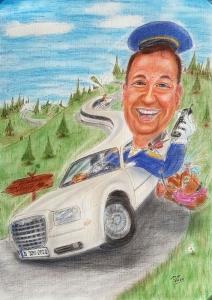 Karikatur eines Chauffeur im Bentley, Farbbild