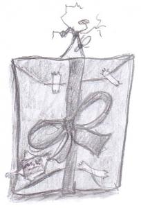 Geschenk-Paket, Karikatur im Bilderrahmen, Zeichenstift Martin Veith, Wien