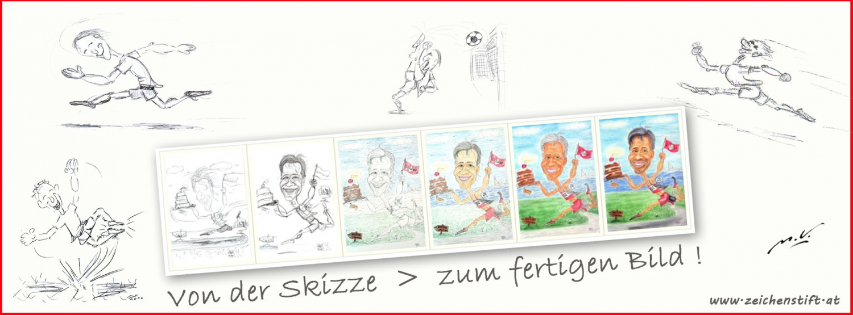 Karikaturen nach Fotos - Skizzen und Entstehung
